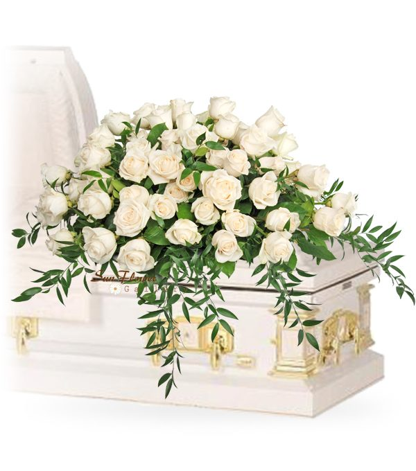 just white roses casket spray