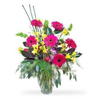 Pink Gerber Sympathy Vase