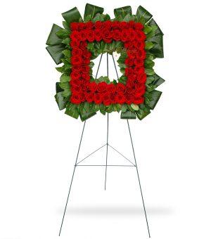 Square Red Rose Wreath