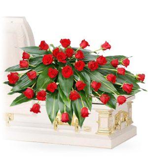 Graceful 36 Red Rose Casket Spray