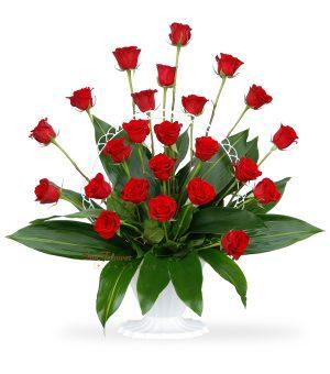 Graceful Basket of 24 Red Roses