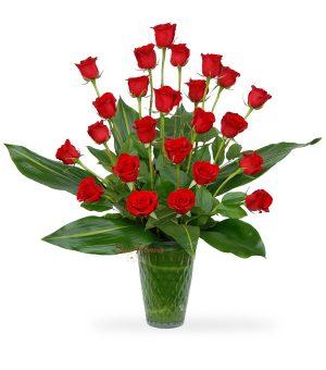Graceful Vase Of 24 Red Roses