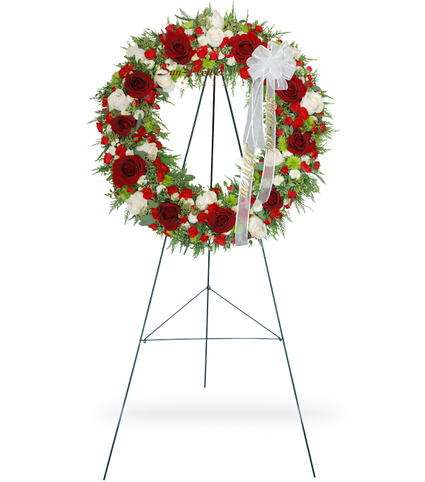 Red and White Rose Wreath