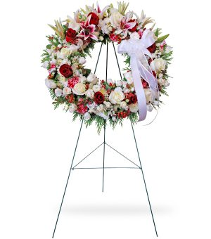 Red And White Sympathy Wreath