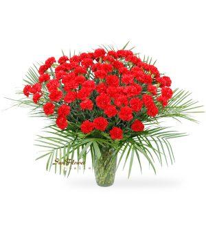 75 Red Carnation Vase