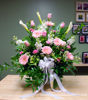 Pink And White Funeral Spray