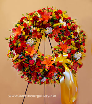 Yellow And Red Funeral Wreath